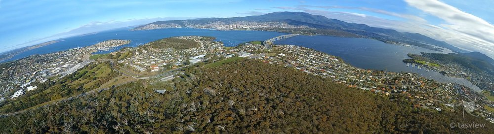 Panorama from Gordons Hill towards Hobart - 3 stills from video stitched.