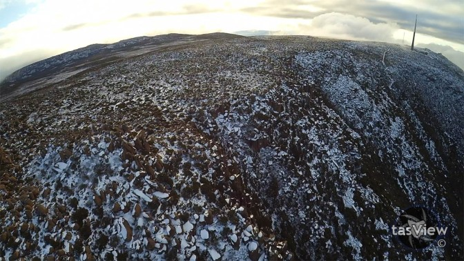 Drone view of the bolderfield south of the summit.