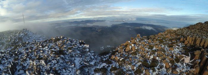 Panorama of Hobart from kunanyi - 3 photos stiched from video.