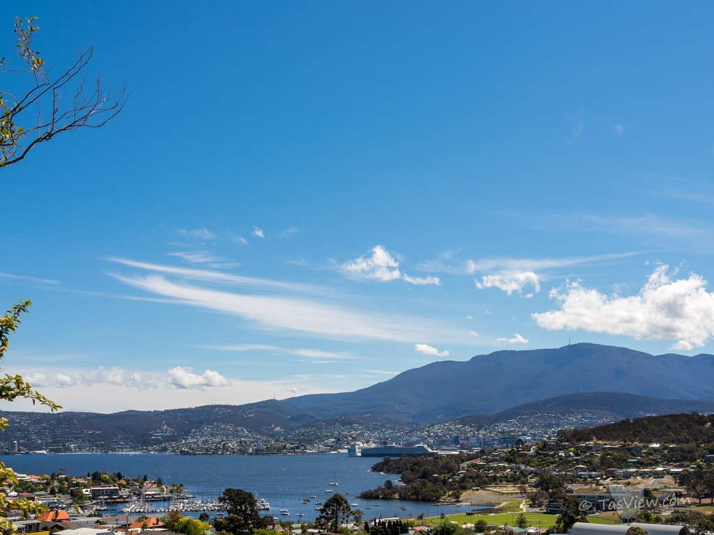 View over Rosny to Mt Wellington with two cruise ships docked in Hobart.