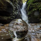 Waterfall in a lens ball